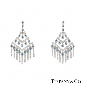 Tiffany & Co. Platinum Diamond & Aquamarine Jazz Chevron Earrings